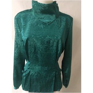 Green Pleated Vintage Top Large